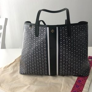 Tory Burch Gemini Link tote bag navyblue and white
